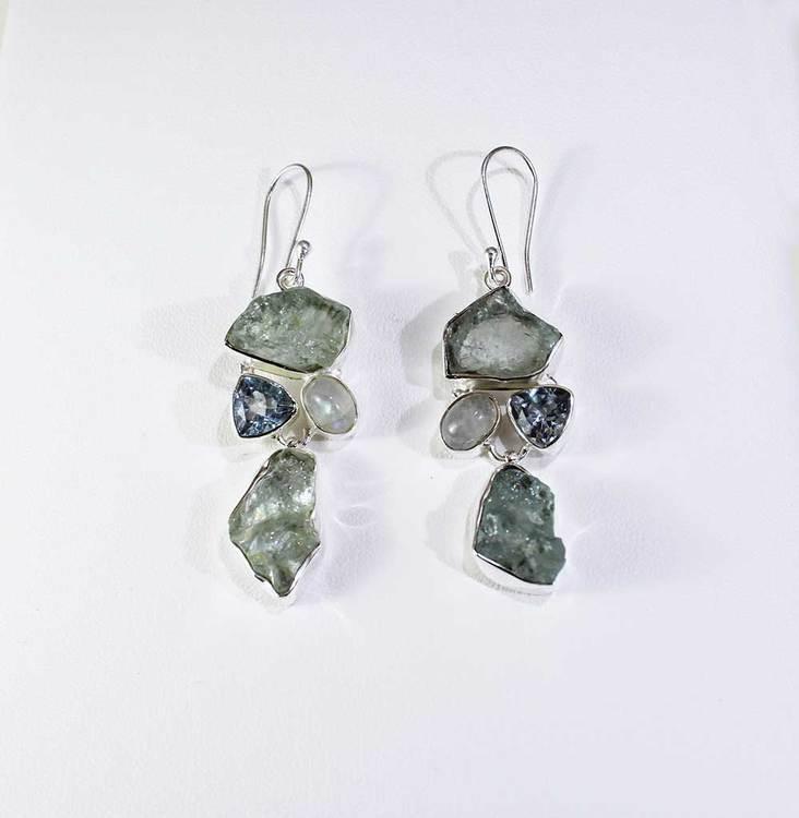 Hängande örhängen med Aquamarine - Moon Stone - Blue Topaz