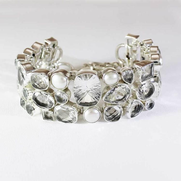 "Armband ""White Quartz + Pearls"" 925 silver"