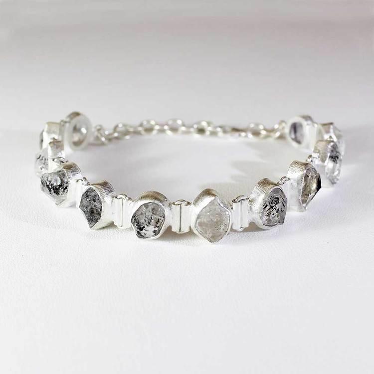"""Armband med """"Herkimer""""-ädelstenar 925 silver"""