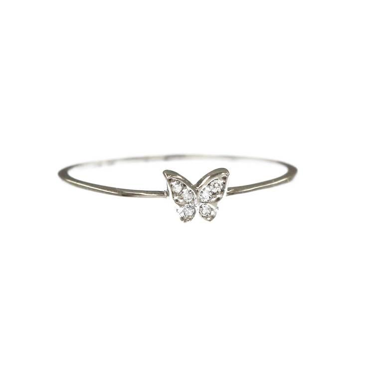 Ring Butterfly med cz-stenar 18K vitguld