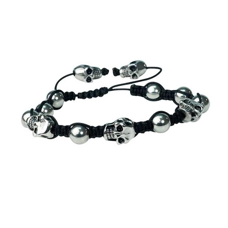 Shamballa-armband med döskallar – Svart/Steel