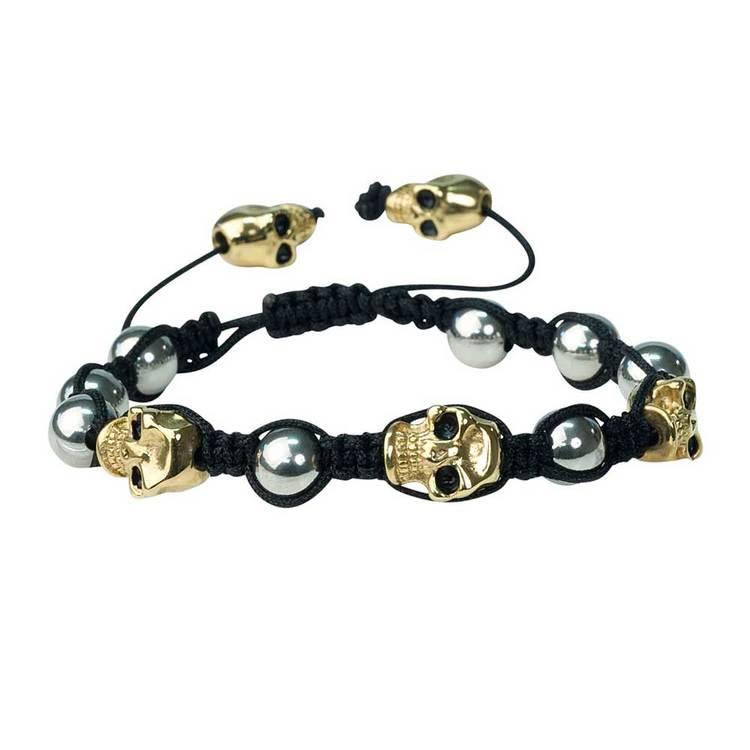 Shamballa-armband med döskallar – Svart/Guld