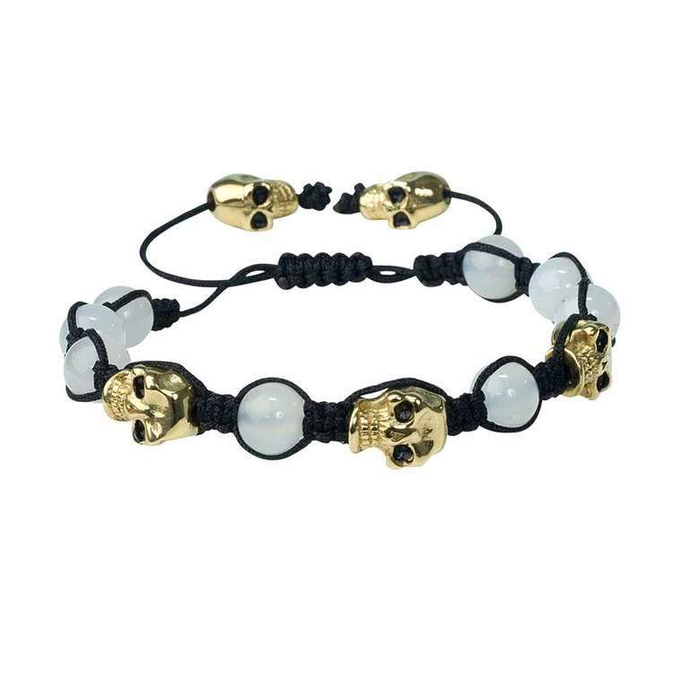 Shamballa-armband med döskallar – Agate/Guld