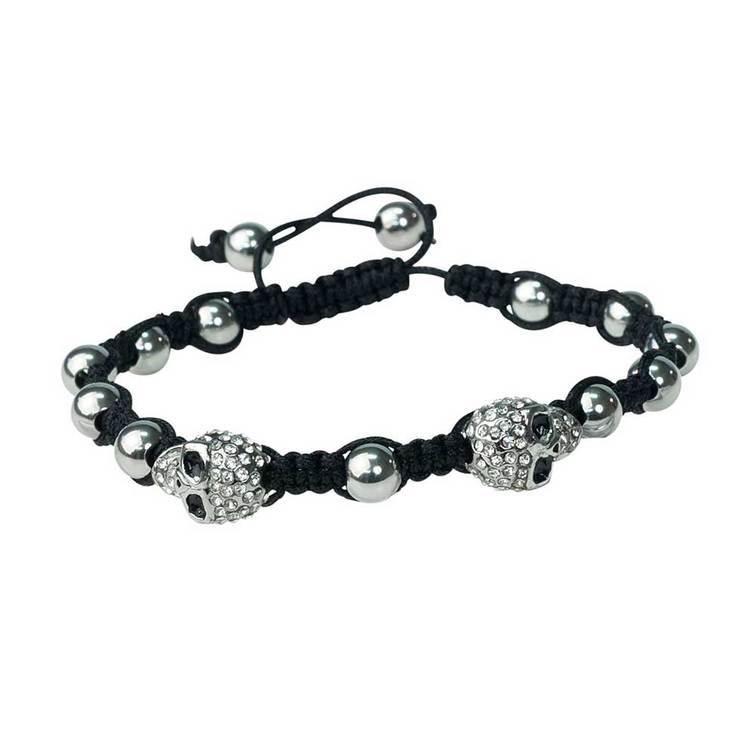 Shamballa-armband med cz-döskallar – Svart/Steel