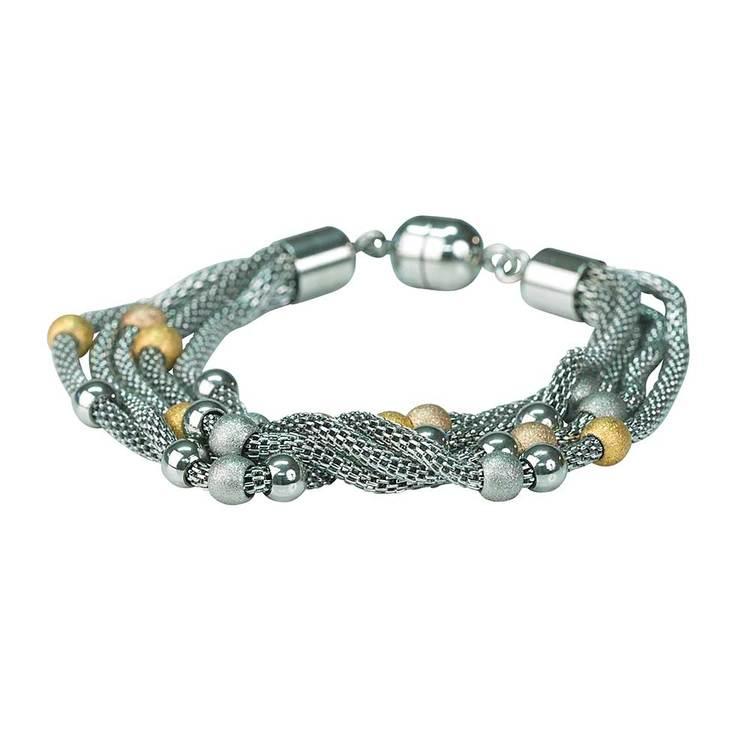 Armband i steel - trefärgat