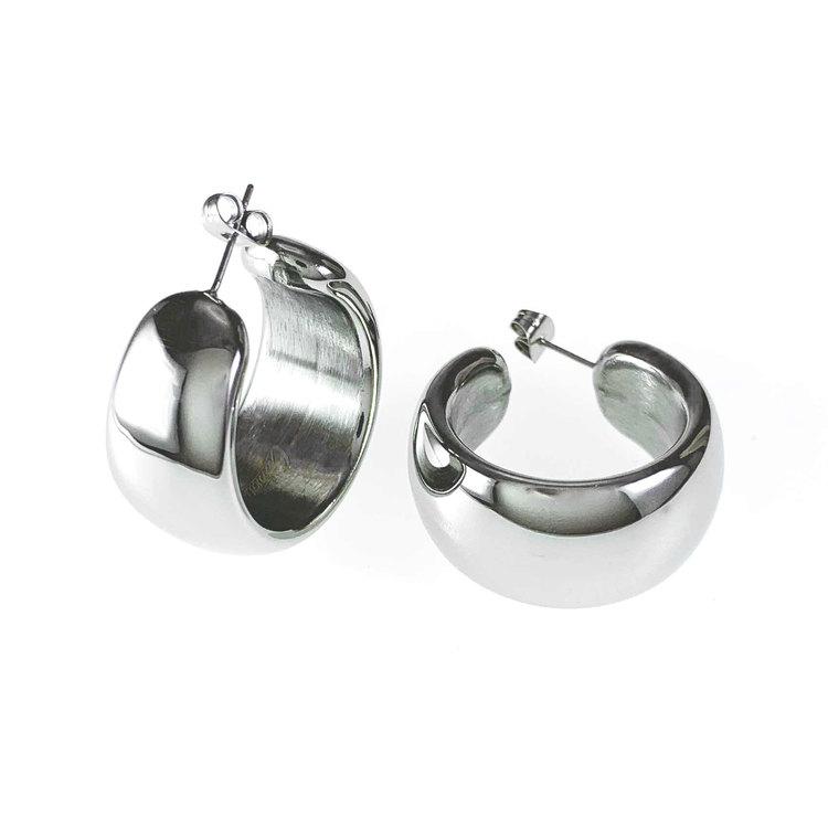 Stilrena örhängen, creoler, VIKTORIA i stål från Catwalk Jewellery
