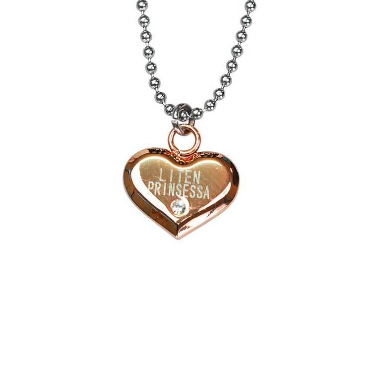 Halsband hjärta med cz-sten [LITEN PRINSESSA] i stål