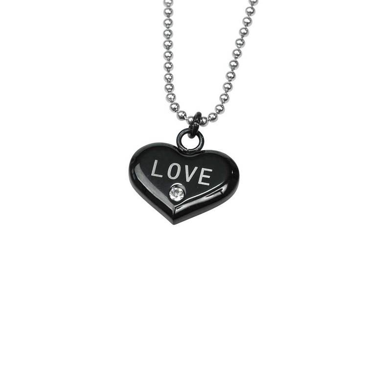 Halsband hjärta med cz-sten [LOVE] i stål