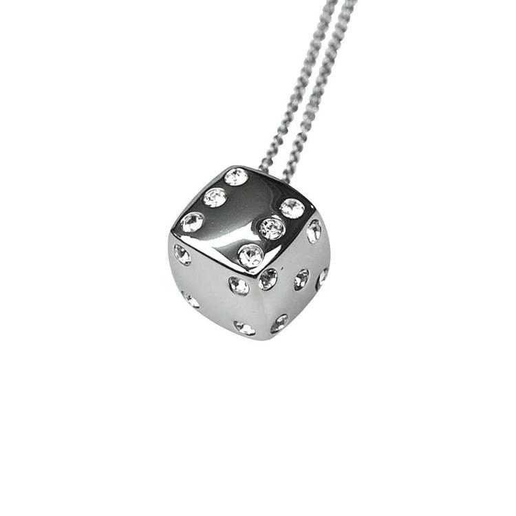 Halsband [DICE] i stål med cz-stenar