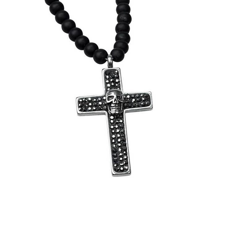 Kors med döskalle i stål - Onyx/Steel