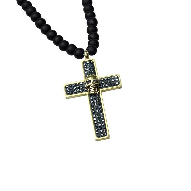 Kors med döskalle i stål - Onyx/Guld