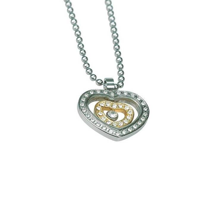 Halsband [HEART] med cz-stenar i stål
