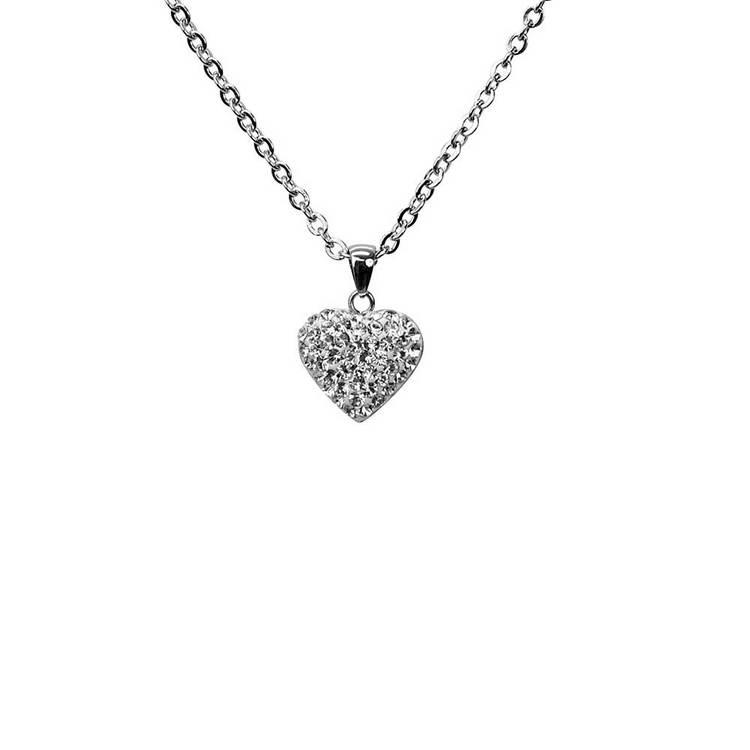 Halsband [HEART] i stål med cz-stenar