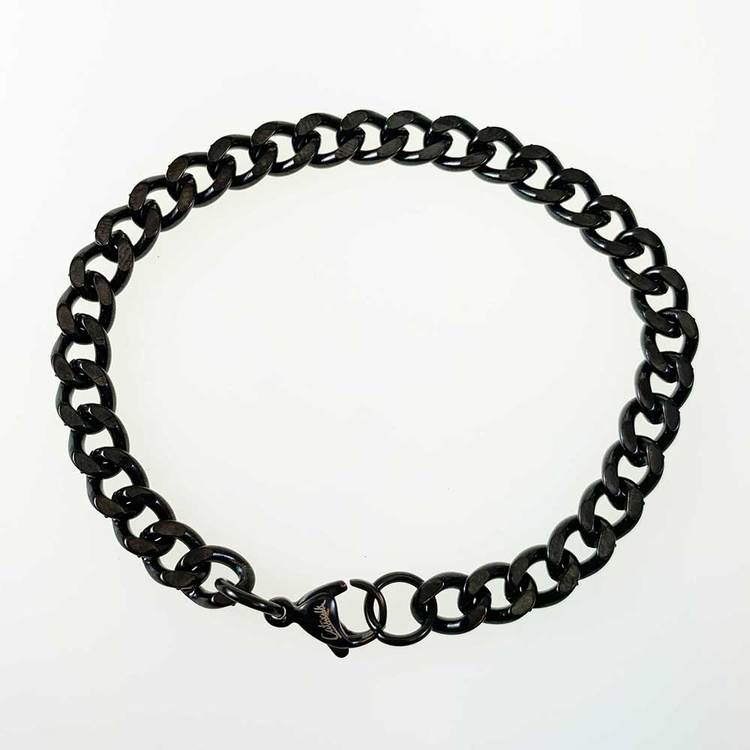 Pansararmband i black steel - 6,5 mm