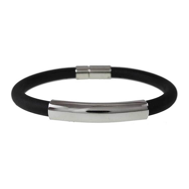 Steel/gummiarmband