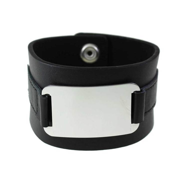 Läder/steel-armband - 40 mm