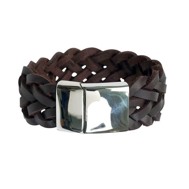 Brunt läderarmband med steel/magnet-lås