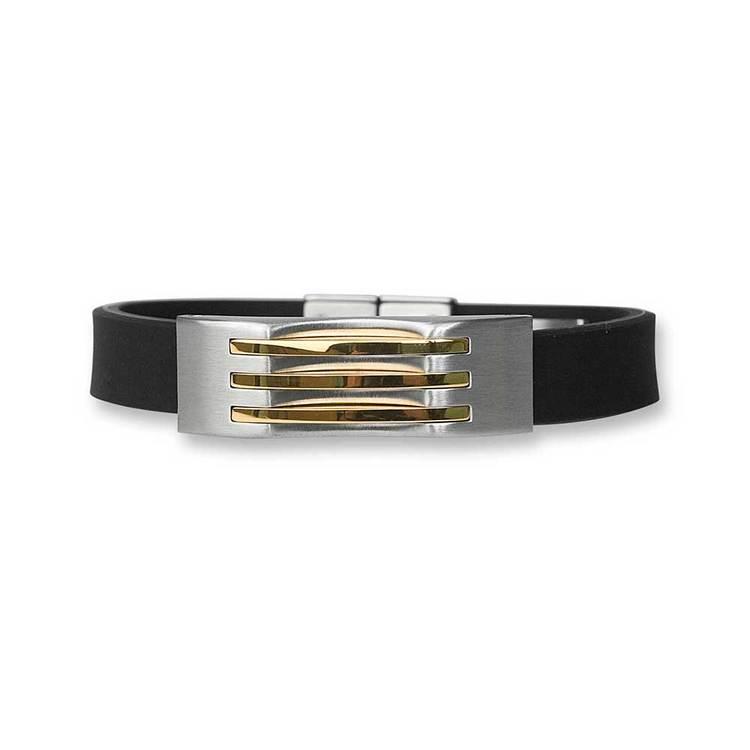 Steel-armband med gummi och guldförgyllning