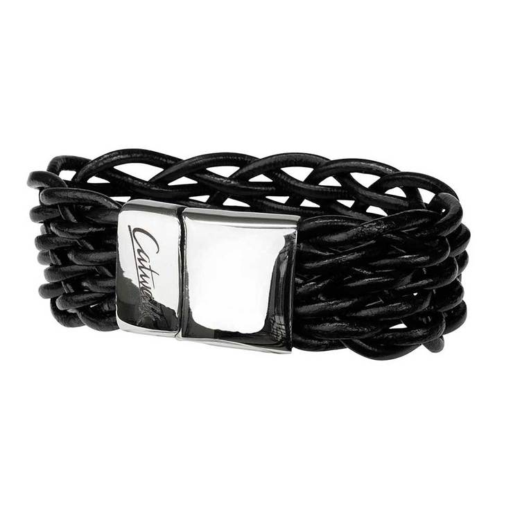 Läderarmband med steel-lås