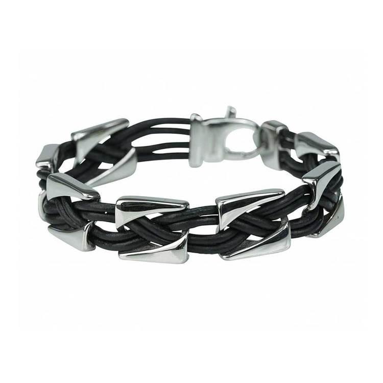 Steel/Läderarmband med steel-lås