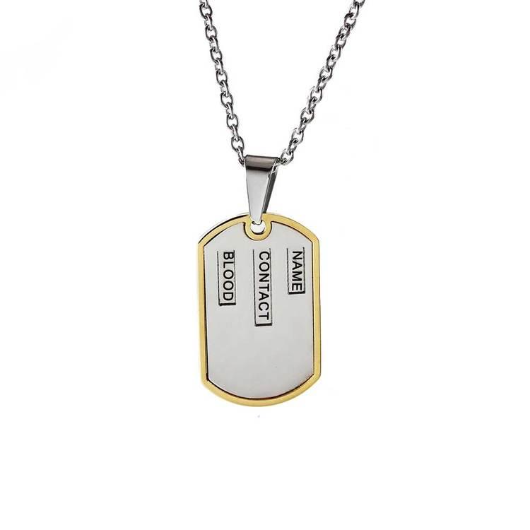 ID-tag i steel med steelkedja - 50 cm