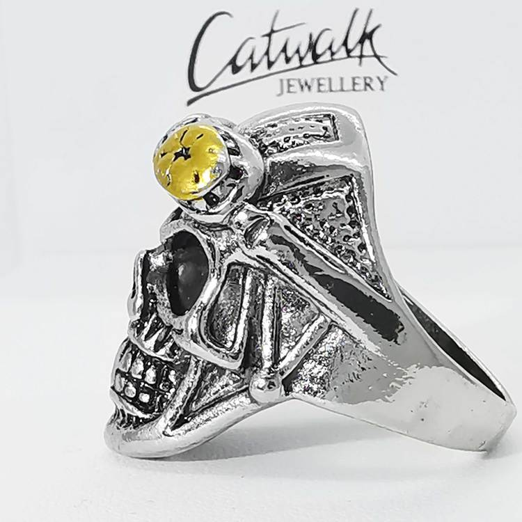 Ring [SKULL WITH BIKERGLASSES] Steel