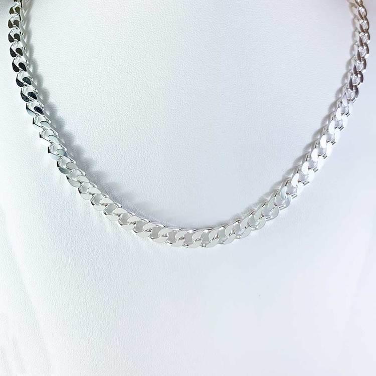 Pansarhalsband - Slipad fyra sidor i 925 silver - 5,8 mm