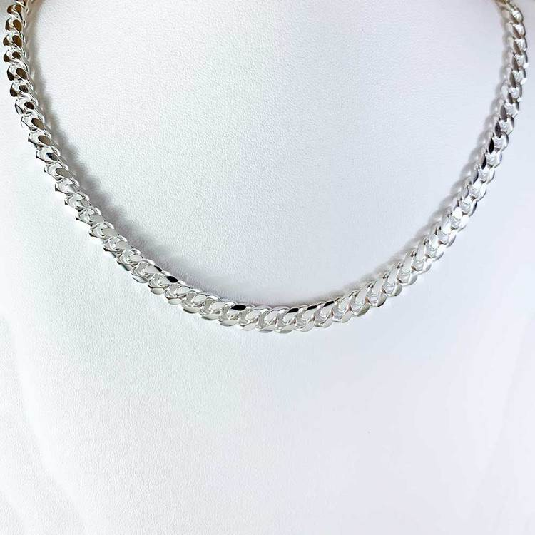 Pansarhalsband - Ovalslipad 925 silver - 5,8 mm