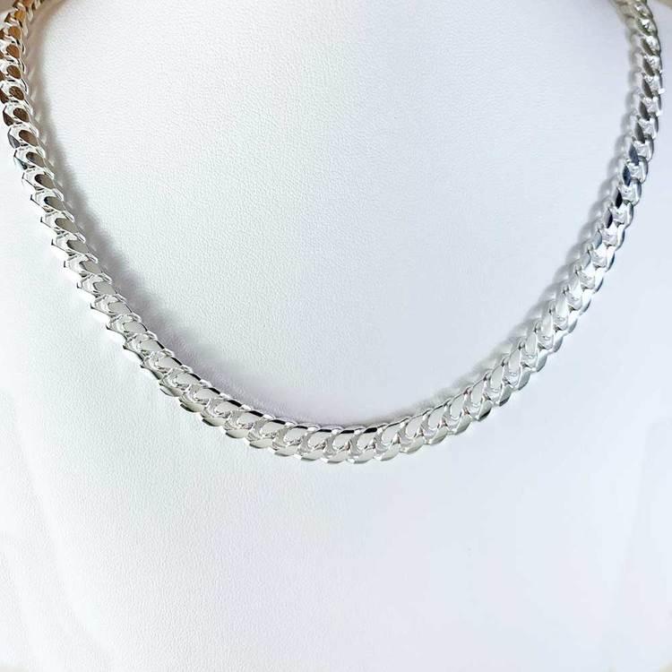 Pansarhalsband - Ovalslipad 925 silver - 6,4 mm