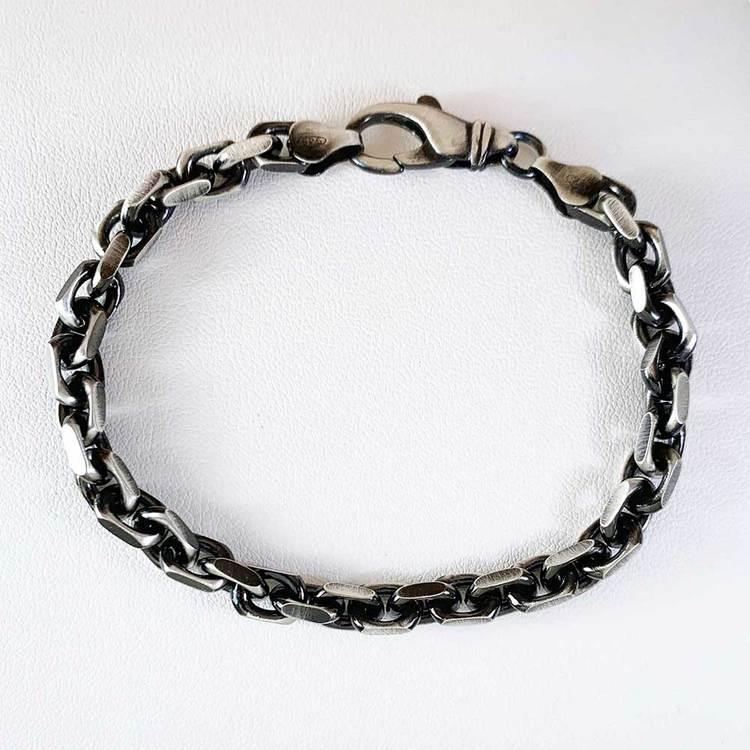 Ankararmband i oxiderat 925 silver - 5,7 mm