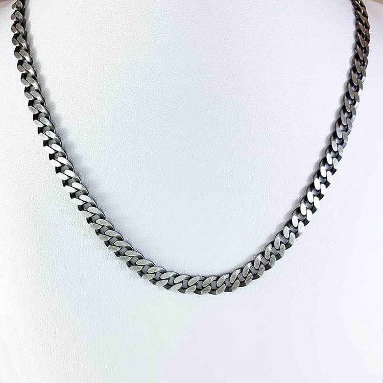 Pansarhalsband i oxiderat 925 silver - 6 mm