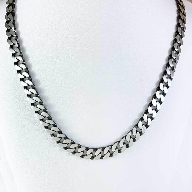 Pansarhalsband i oxiderat 925 silver - 8 mm