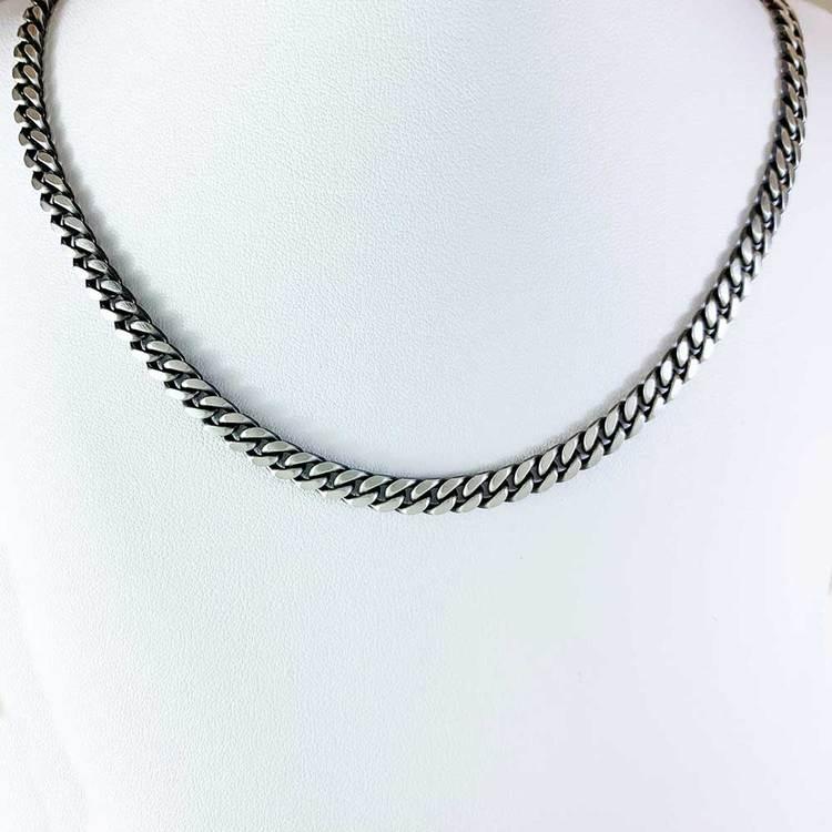 Pansarhalsband - Ovalslipad Oxiderat 925 silver - 5 mm