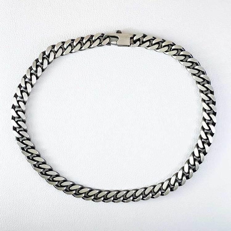 Pansararmband - Ovalslipad Oxiderat 925 silver - 5,8 mm
