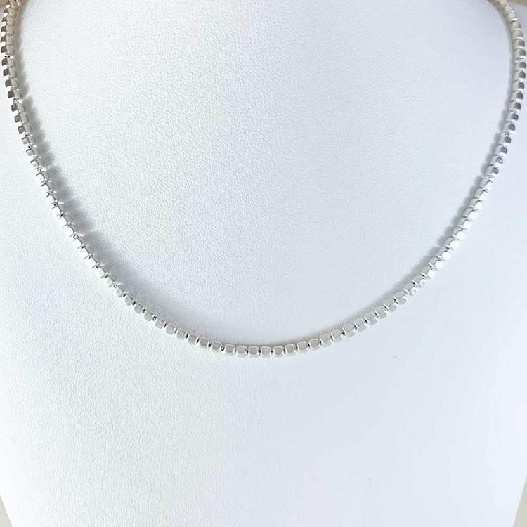 Fyrkantig kulkedja i 925 silver - Halsband