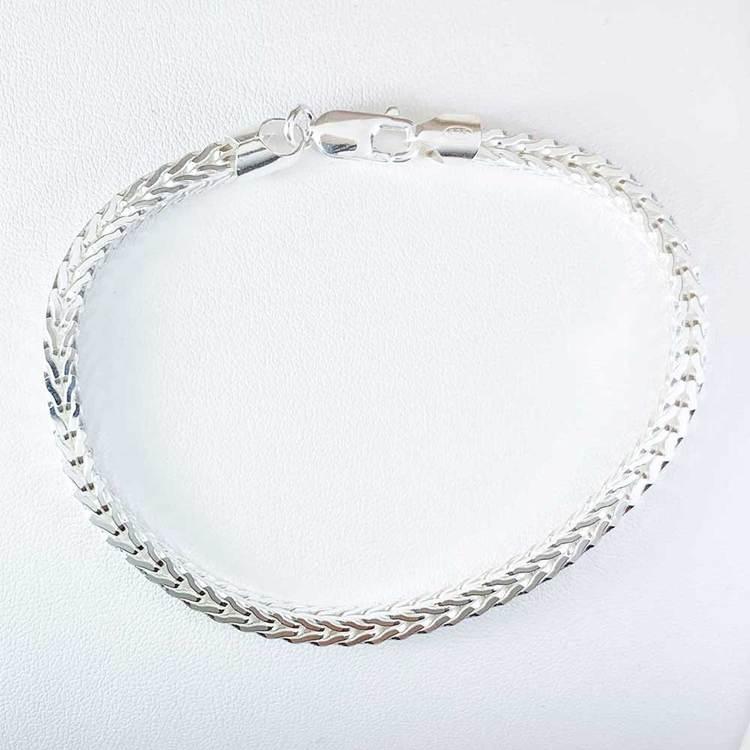 Fyrkantig rävsvanslänk i 925 silver - Armband