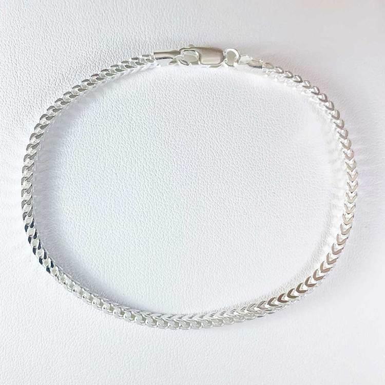 Fyrkantig Francolänk i 925 silver - Armband