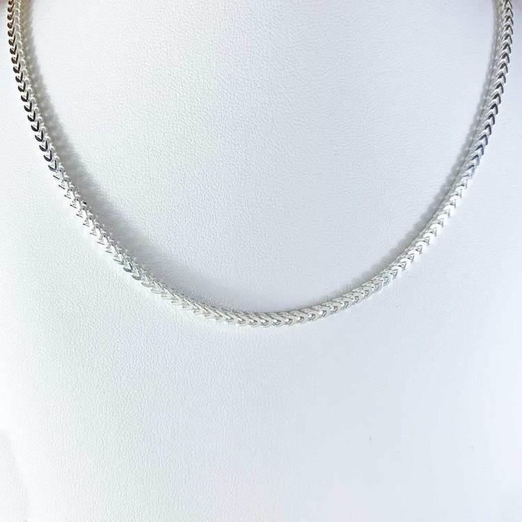 Fyrkantig Francolänk i 925 silver - Halsband