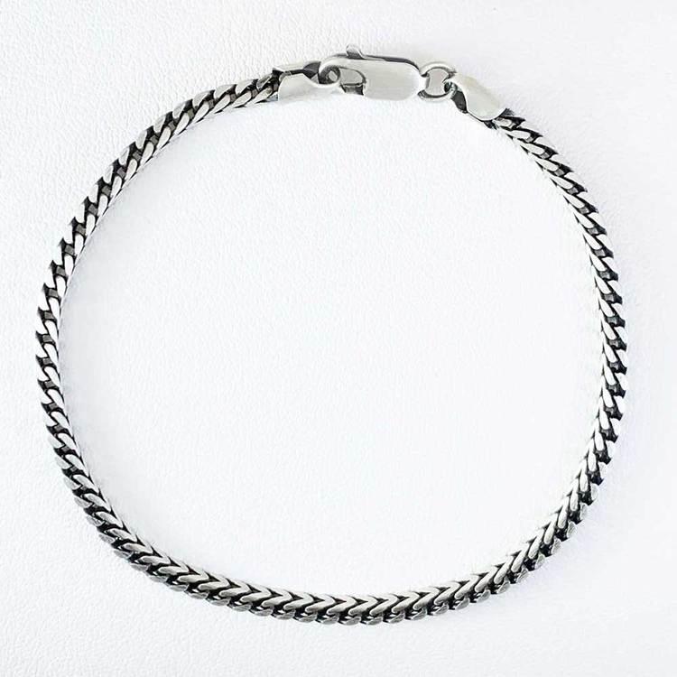 Fyrkantig Francolänk i oxiderat 925 silver - Armband