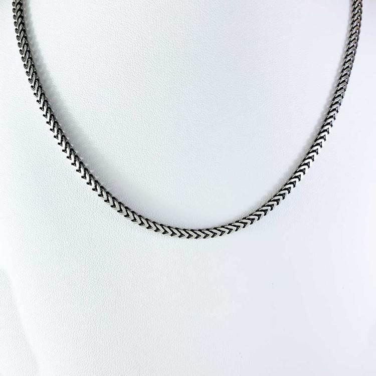 Fyrkantig Francolänk i oxiderat 925 silver - Halsband