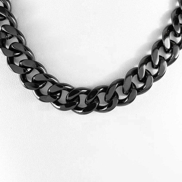 Halsband Pansar Svart Stål - 13 mm