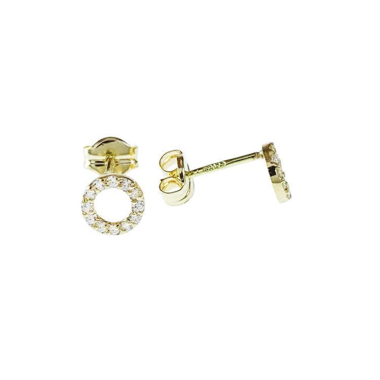 Snygga fasta örhängen DOUBLE RINGS med cz-stenar 18K guld från Catwalk Jewellery
