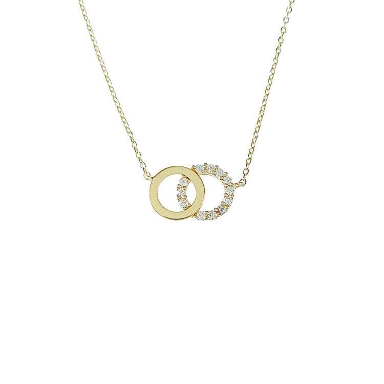 Vackert halsband Double Rings med cz-stenar i 18K guld från Catwalk Jewellery