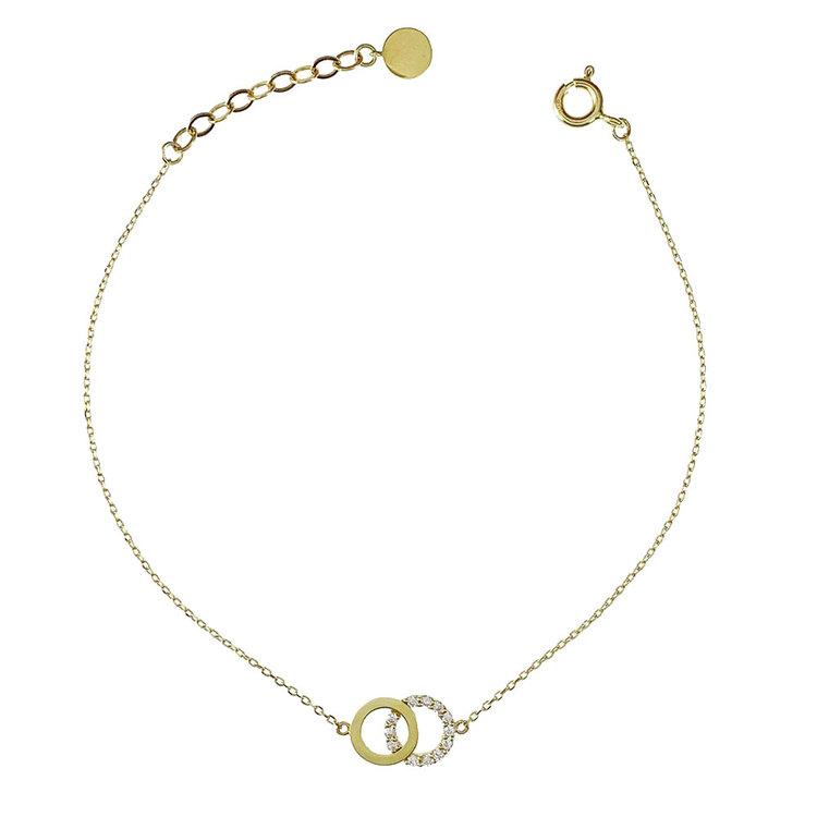 Vackert armband Double Rings med cz-stenar i 18K guld från Catwalk Jewellery