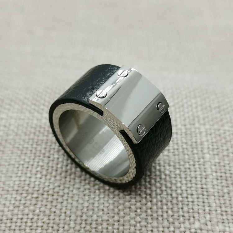 Ring Black Leather & Steel