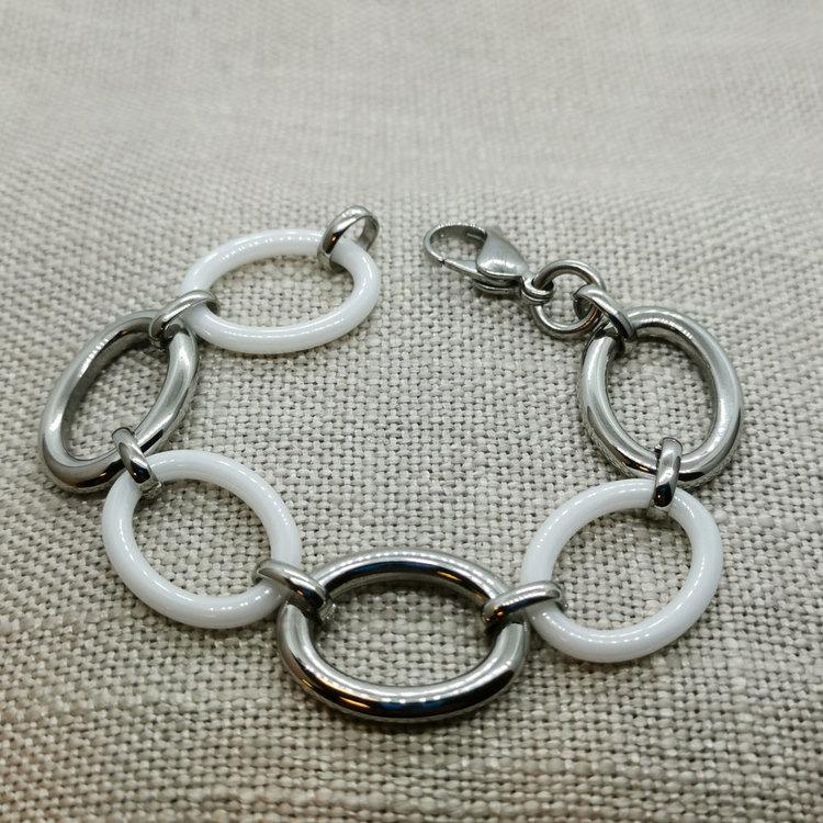 Armband White & Steel