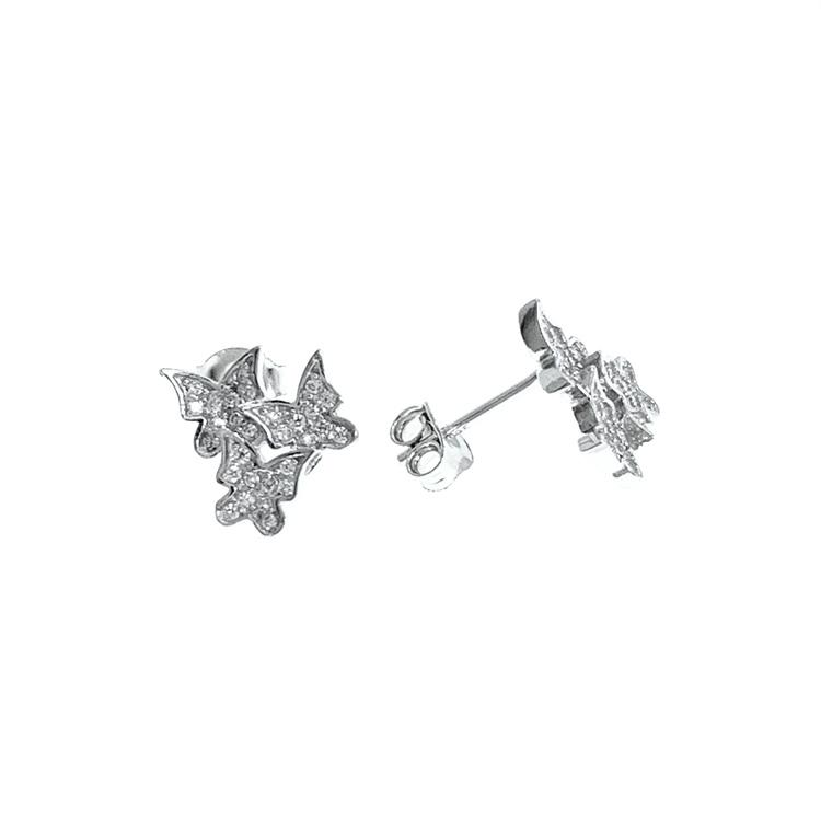 Örhängen Triple Butterfly Silver
