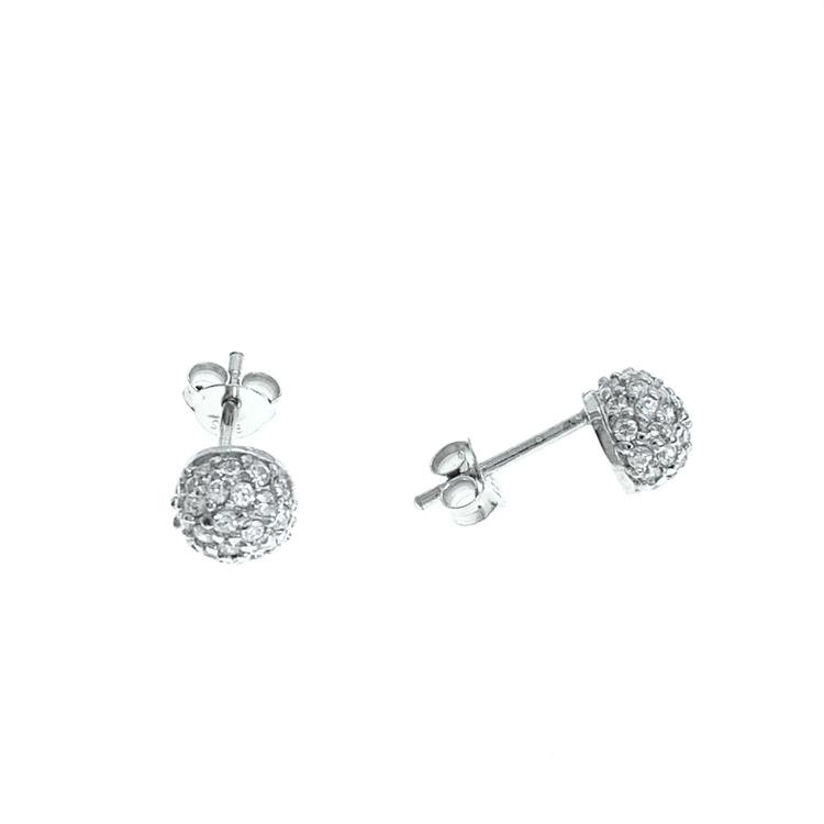 Fasta runda örhängen i silver med cz-stenar från catwalksmycken