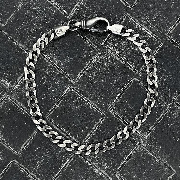 Pansararmband i oxiderat 925 silver - 5 mm