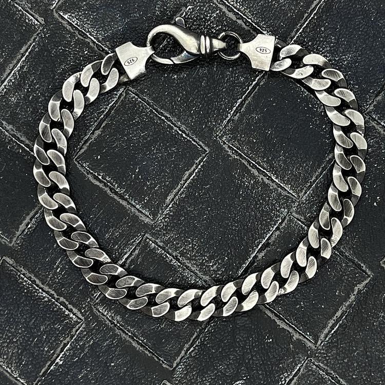 Pansararmband i oxiderat 925 silver - 7 mm